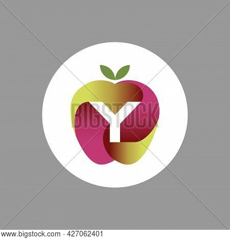 The Logo Is An Illustration Of An Apple In The Middle Forming The Letter Y. Three-dimensional