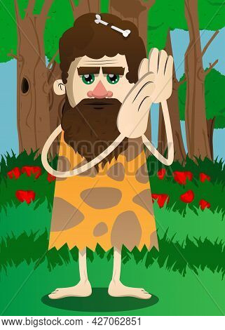 Cartoon Prehistoric Man Holds Both Hand At His Ear, Listening. Vector Illustration Of A Man From The