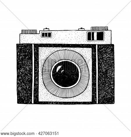 Photographic Camera. Black And White Illustration Isolated For Packaging, Cover And Other Design.