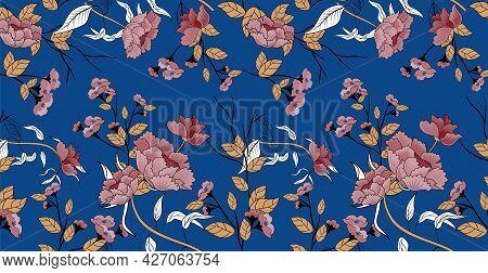 Luxurious Floral Batik Background. Floral Decoration Curls Illustration. Hand Drawn Paisley Pattern