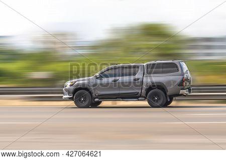 Samut Sakhon, Thailand - April 2021: Toyota Hilux Revo Prerunner, Gray Car Driving With Speed-effect