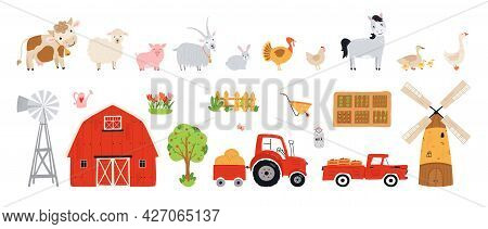 Set Farm Elements. Collection Farm Animals In A Flat Style. Illustration With Pets Cow, Horse, Pig,
