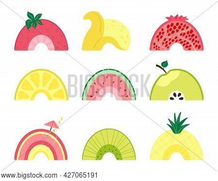 Set With A Cute Fruit Rainbow. Illustration With Slices Of Watermelon, Apple, Pineapple, Pomegranate