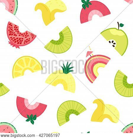 Seamless Pattern With Cute Fruit Rainbow. Background With Slices Summer Fruits For Wallpaper, Fabric