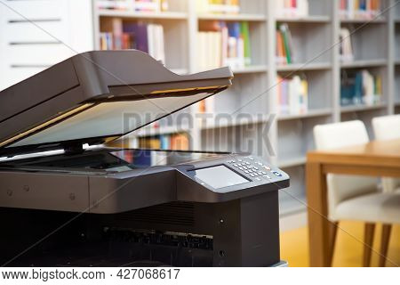 Copier Printer, Close Up The Photocopier Or Photocopy Machine Office Equipment Workplace For Scanner