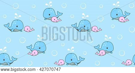 Blue Mother Whale And Pink Baby Whale On A Blue Background With Circles. Endless Texture With Cute W