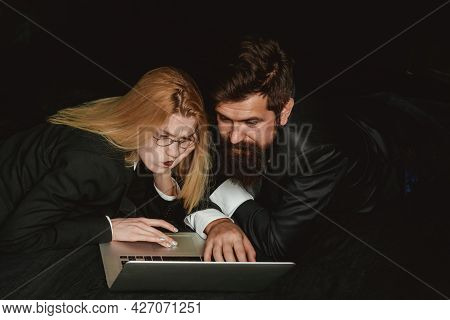 Business People. Business Men And Women In Suit Are Discussing Work. Boss And Secretary. Couple Of Y