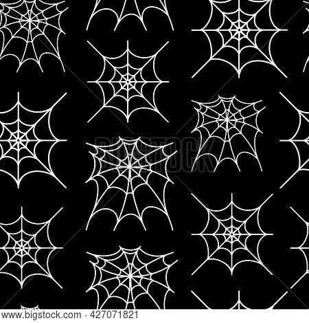 White Spider Web On Black Background Seamless Vector Pattern. Hand-drawn Outline Of A Spider Trap. L