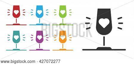 Black Wine Glass Icon Isolated On White Background. Wineglass Sign. Favorite Wine. Set Icons Colorfu