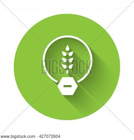 White Gluten Free Grain Icon Isolated With Long Shadow Background. No Wheat Sign. Food Intolerance S