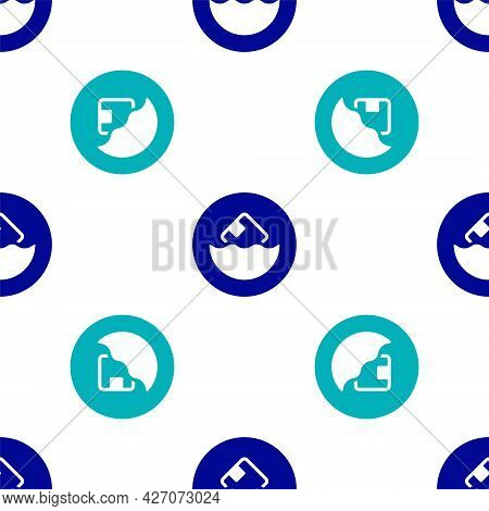 Blue Carton Cardboard Box Icon Isolated Seamless Pattern On White Background. Box, Package, Parcel S