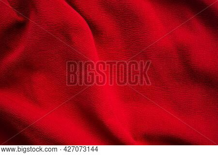 Dark Red Fabric Texture Abstract Background. New Modern Design Luxurious Light And Soft Wave Smooth
