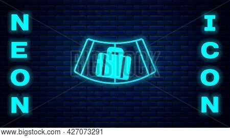 Glowing Neon Airport Conveyor Belt With Passenger Luggage, Suitcase, Bag, Baggage Icon Isolated On B
