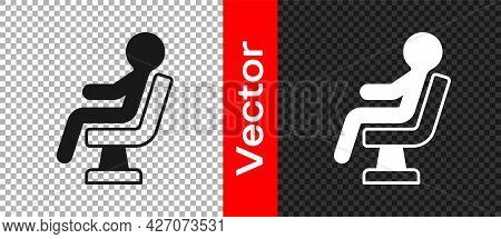 Black Human Waiting In Airport Terminal Icon Isolated On Transparent Background. Vector