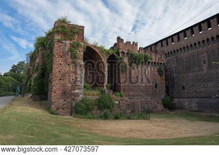 Side View Of Castello Sforzesco In Milan, Italy