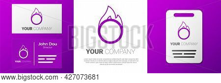 Logotype Circus Fire Hoop Icon Isolated On White Background. Ring Of Fire Flame. Round Fiery Frame.