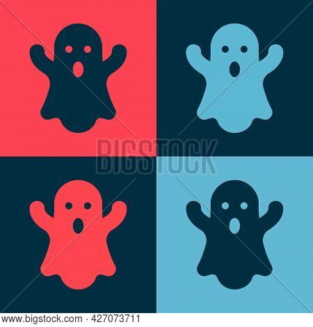 Pop Art Ghost Icon Isolated On Color Background. Happy Halloween Party. Vector