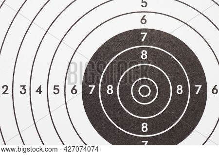 Target For Shooting. Black And White Light Background Or Wallpaper. Backdrop On The Subject Of Shoot