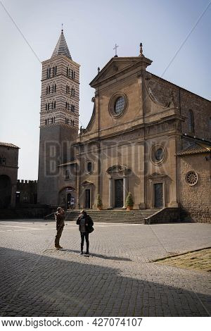 Viterbo, Italy - February 23, 2021, Masked People In The Square In Viterbo, Italy
