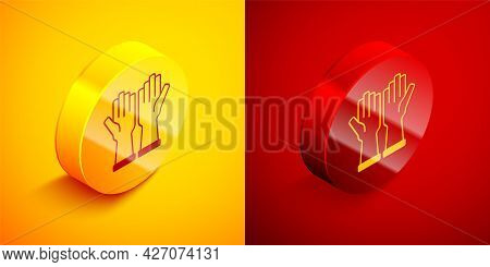 Isometric Rubber Gloves Icon Isolated On Orange And Red Background. Latex Hand Protection Sign. Hous