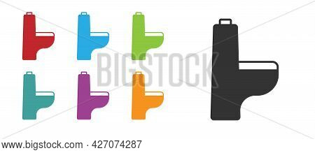 Black Toilet Bowl Icon Isolated On White Background. Set Icons Colorful. Vector