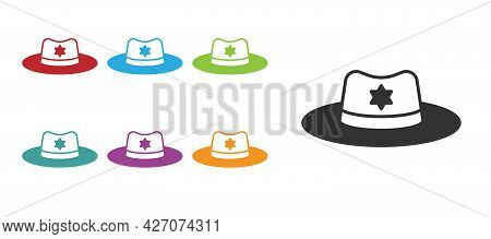 Black Sheriff Hat With Badge Icon Isolated On White Background. Set Icons Colorful. Vector