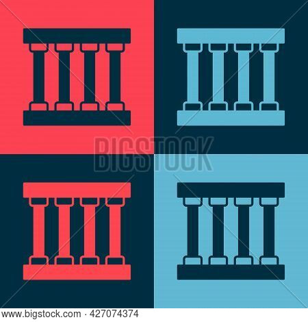 Pop Art Prison Window Icon Isolated On Color Background. Vector