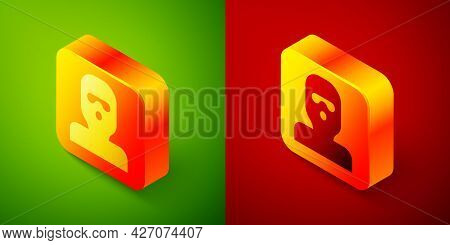 Isometric Thief Mask Icon Isolated On Green And Red Background. Bandit Mask, Criminal Man. Square Bu