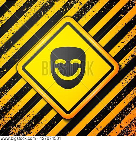 Black Comedy Theatrical Mask Icon Isolated On Yellow Background. Warning Sign. Vector