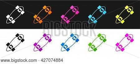 Set Longboard Or Skateboard Cruiser Icon Isolated On Black And White Background. Extreme Sport. Spor