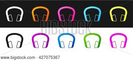 Set Headphones Icon Isolated On Black And White Background. Earphones. Concept For Listening To Musi