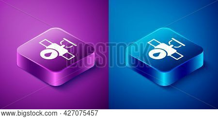Isometric Industry Metallic Pipe And Valve Icon Isolated On Blue And Purple Background. Square Butto