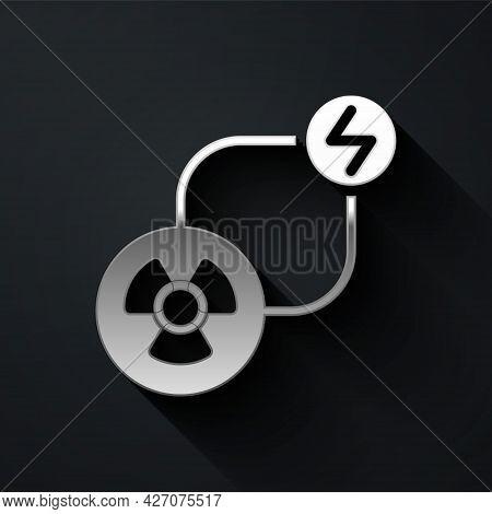 Silver Radioactive Exchange Energy Icon Isolated On Black Background. Radioactive Toxic Symbol. Radi