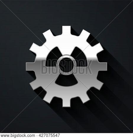 Silver Radioactive Icon Isolated On Black Background. Radioactive Toxic Symbol. Radiation Hazard Sig