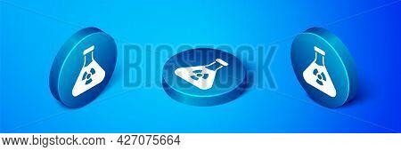 Isometric Laboratory Chemical Beaker With Toxic Liquid Icon Isolated On Blue Background. Biohazard S