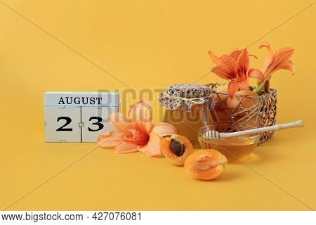 Calendar For August 23 : The Name Of The Month Of August In English, Cubes With The Number 23, Honey