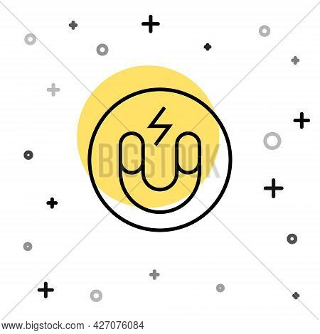 Black Line Magnet Icon Isolated On White Background. Horseshoe Magnet, Magnetism, Magnetize, Attract
