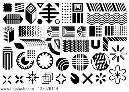 Modern Shapes. Geometric Design Elements. Memphis Set, Group Of Black Flat Simple Geometric Shapes.