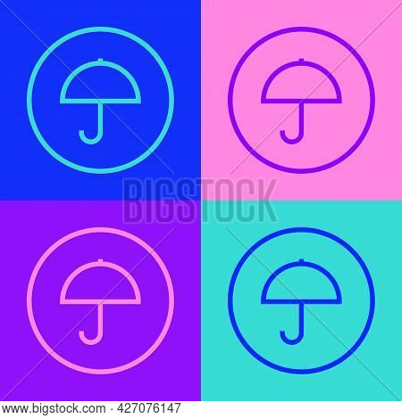 Pop Art Line Delivery Package With Umbrella Symbol Icon Isolated On Color Background. Parcel Cardboa