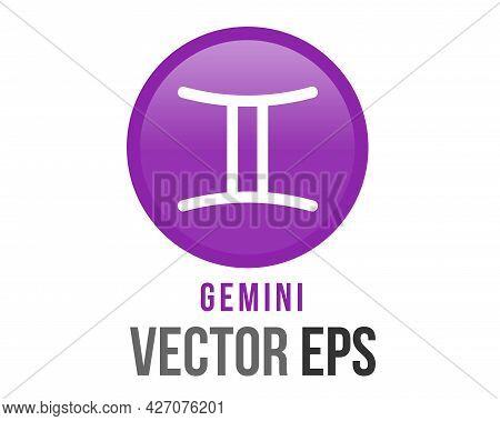 Vector Gradient Purple Gemini Astrological Sign Icon In The Zodiac,  Represents Twins.vector Gradien