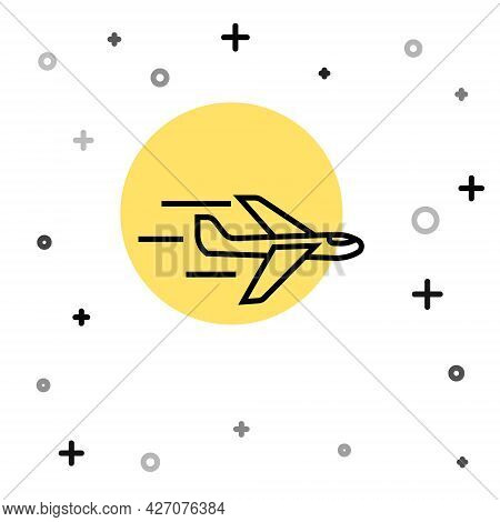 Black Line Plane Icon Isolated On White Background. Flying Airplane Icon. Airliner Sign. Random Dyna