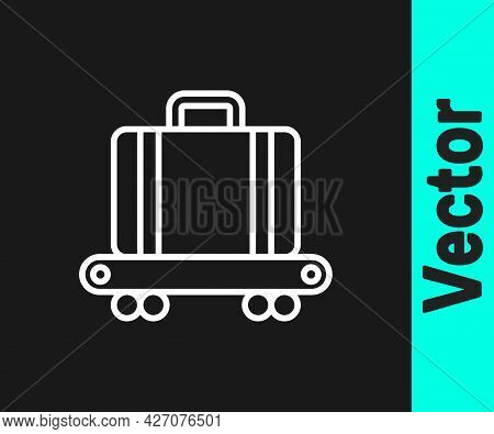 White Line Airport Conveyor Belt With Passenger Luggage, Suitcase, Bag, Baggage Icon Isolated On Bla
