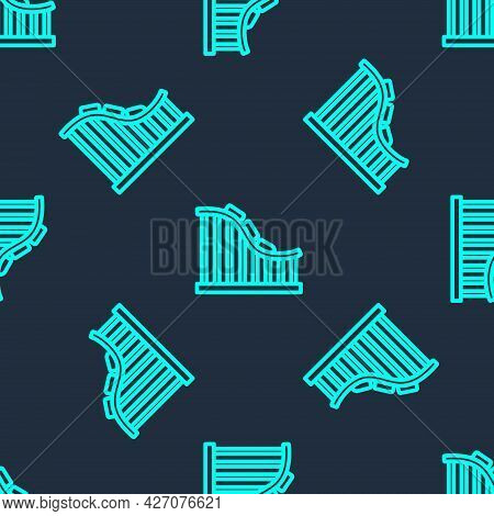 Green Line Roller Coaster Icon Isolated Seamless Pattern On Blue Background. Amusement Park. Childre