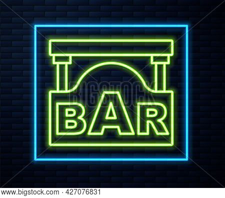 Glowing Neon Line Street Signboard With Inscription Bar Icon Isolated On Brick Wall Background. Suit