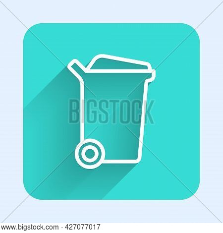 White Line Trash Can Icon Isolated With Long Shadow Background. Garbage Bin Sign. Recycle Basket Ico