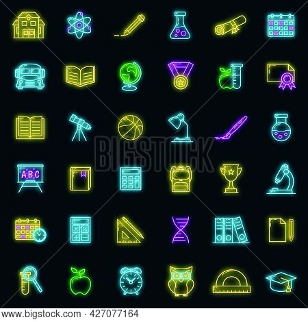Concept Set Back To School Icon Glow Neon Style, Educational Institution Process, Outline Flat Vecto