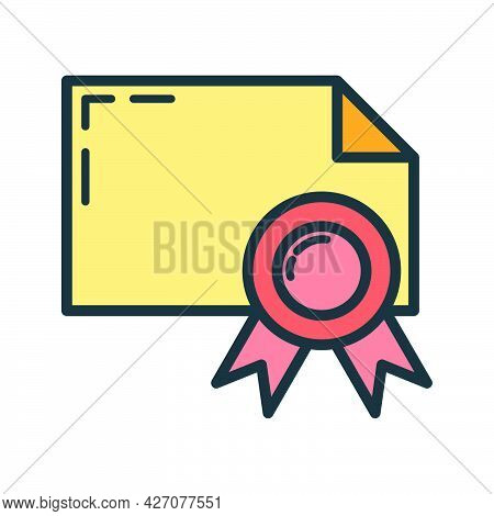 Paper Document With Ribbon Icon, Educational Institution Process, Back To School Outline Flat Vector