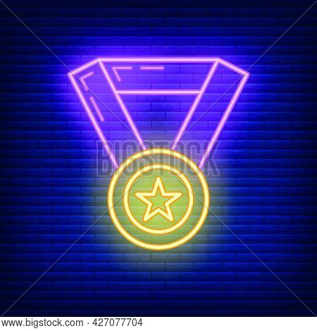 Medal First Place Star Icon Glow Neon Style, Educational Institution Process, Back To School Color O