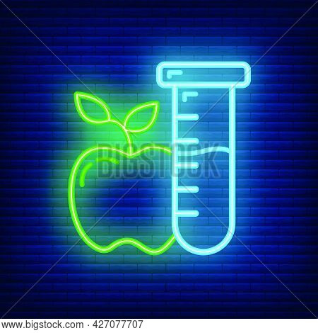 Scientific Laboratory Flask Apple Icon Glow Neon Style, Educational Institution Process, Back To Sch