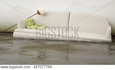 An interior water damage white sofa. 3d illustration
